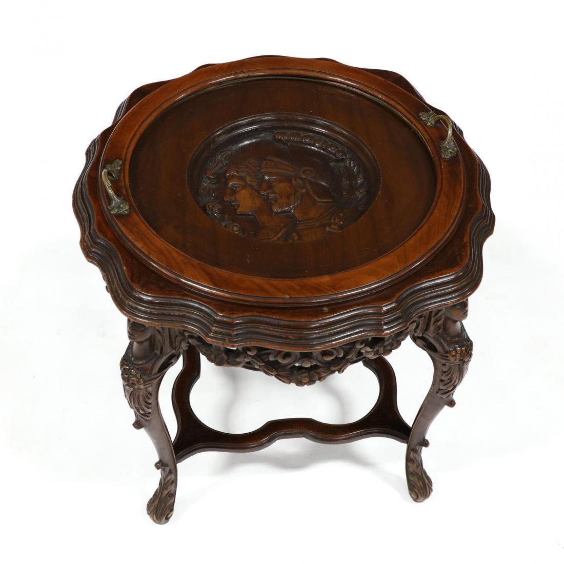 Vintage Italian Carved Walnut Figural Tray Table - 2