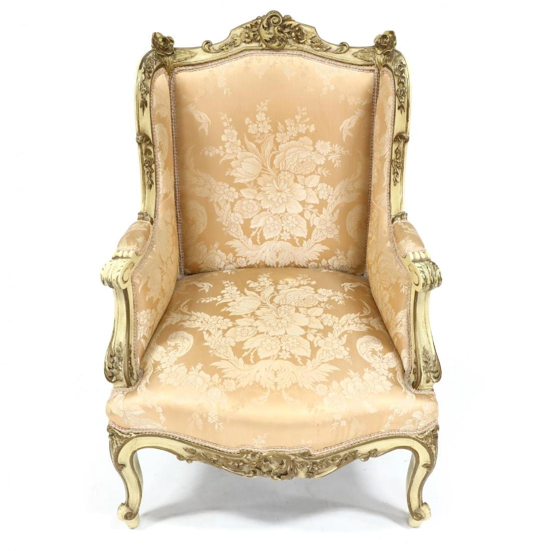 French Rococo Style Carved and Painted Bergere - 2
