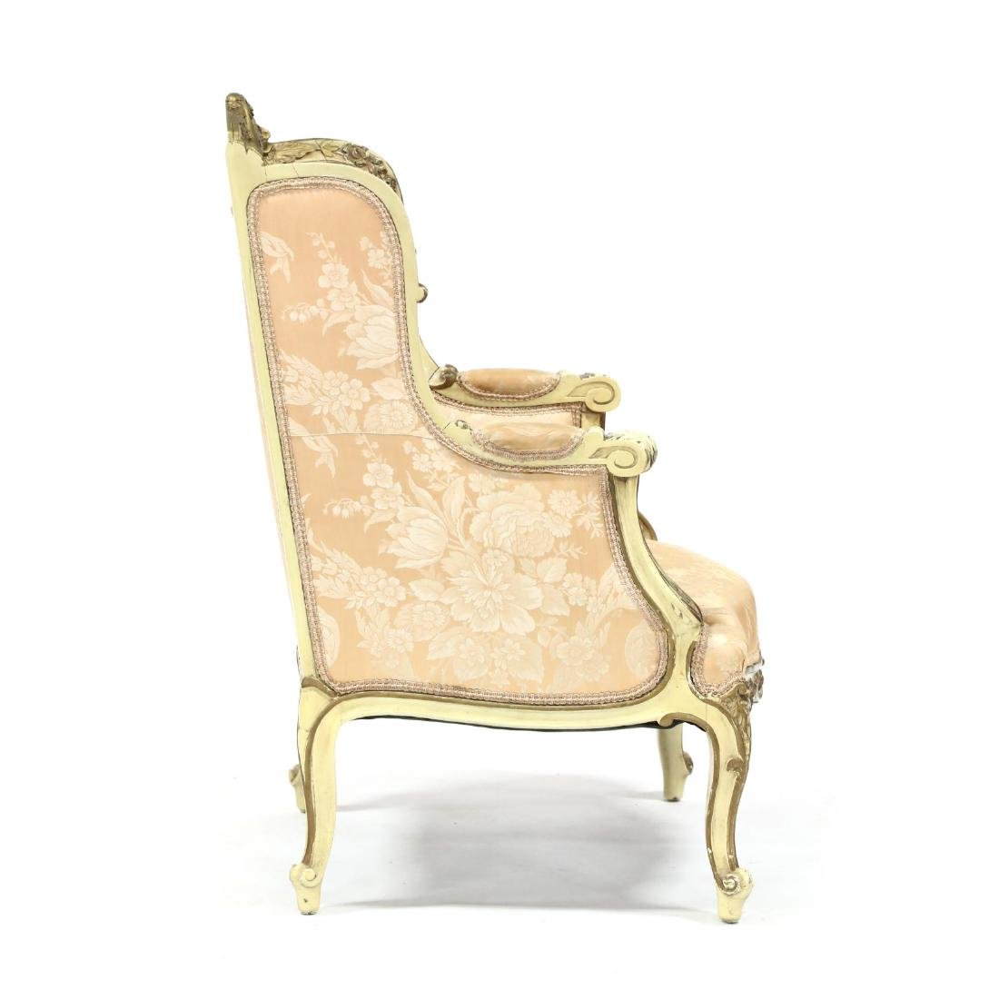 French Rococo Style Carved and Painted Bergere - 3