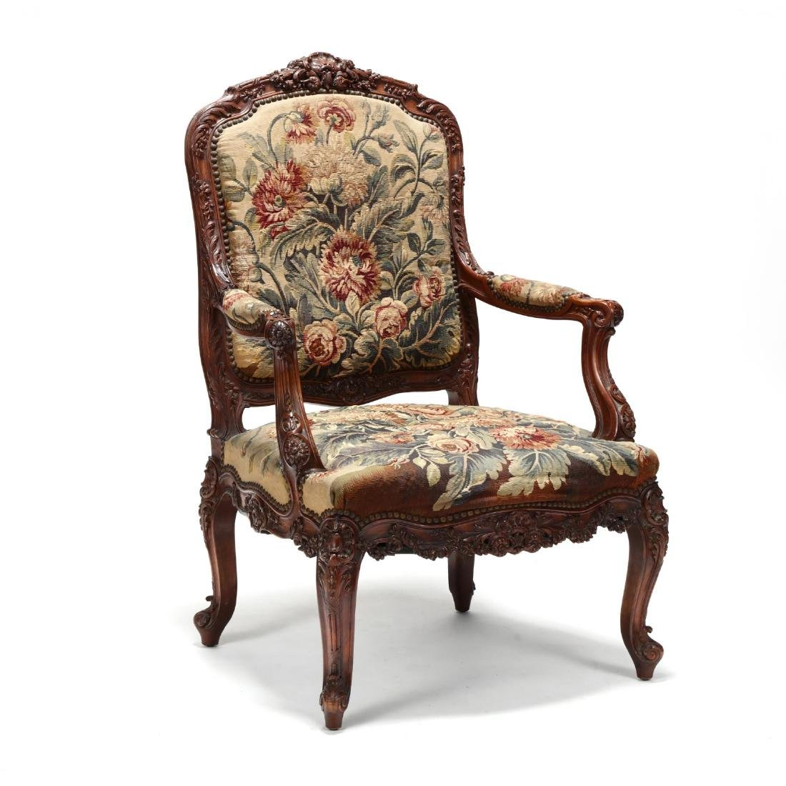 Louis XV Style Carved Walnut Fauteuil