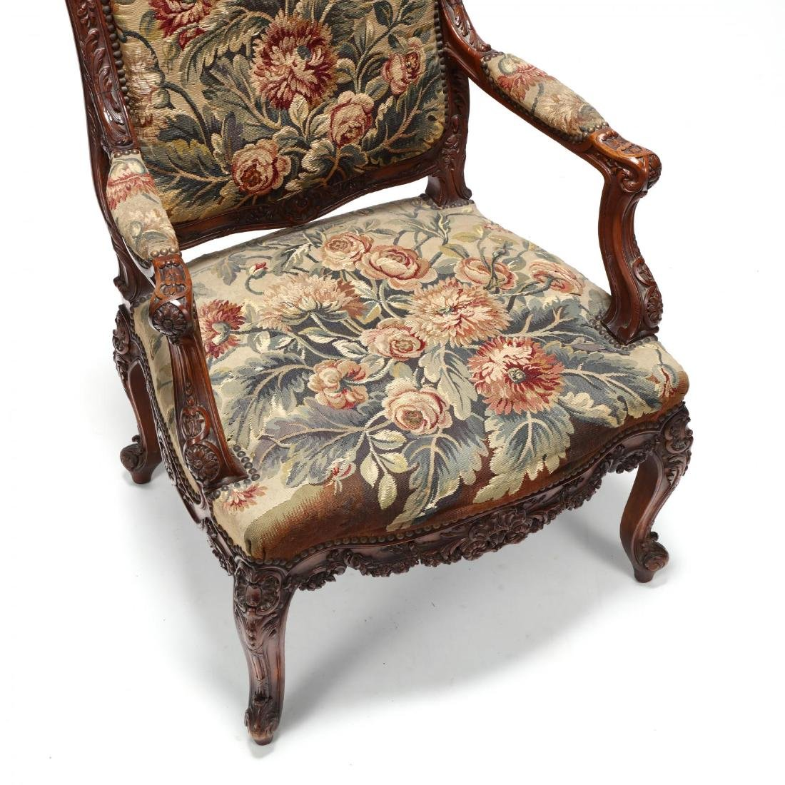 Louis XV Style Carved Walnut Fauteuil - 2