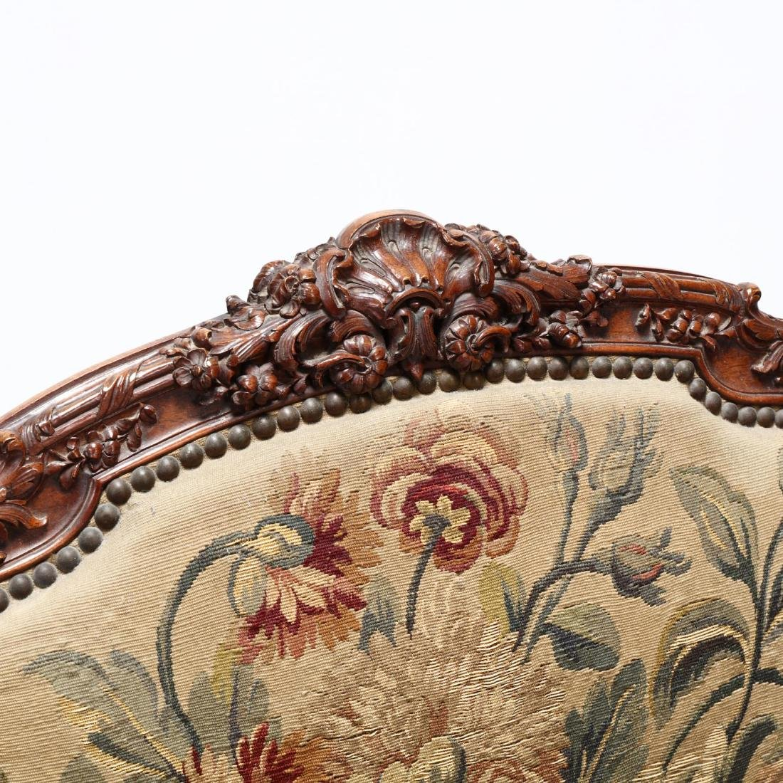 Louis XV Style Carved Walnut Fauteuil - 3