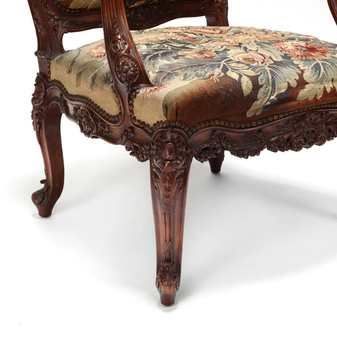 Louis XV Style Carved Walnut Fauteuil - 4