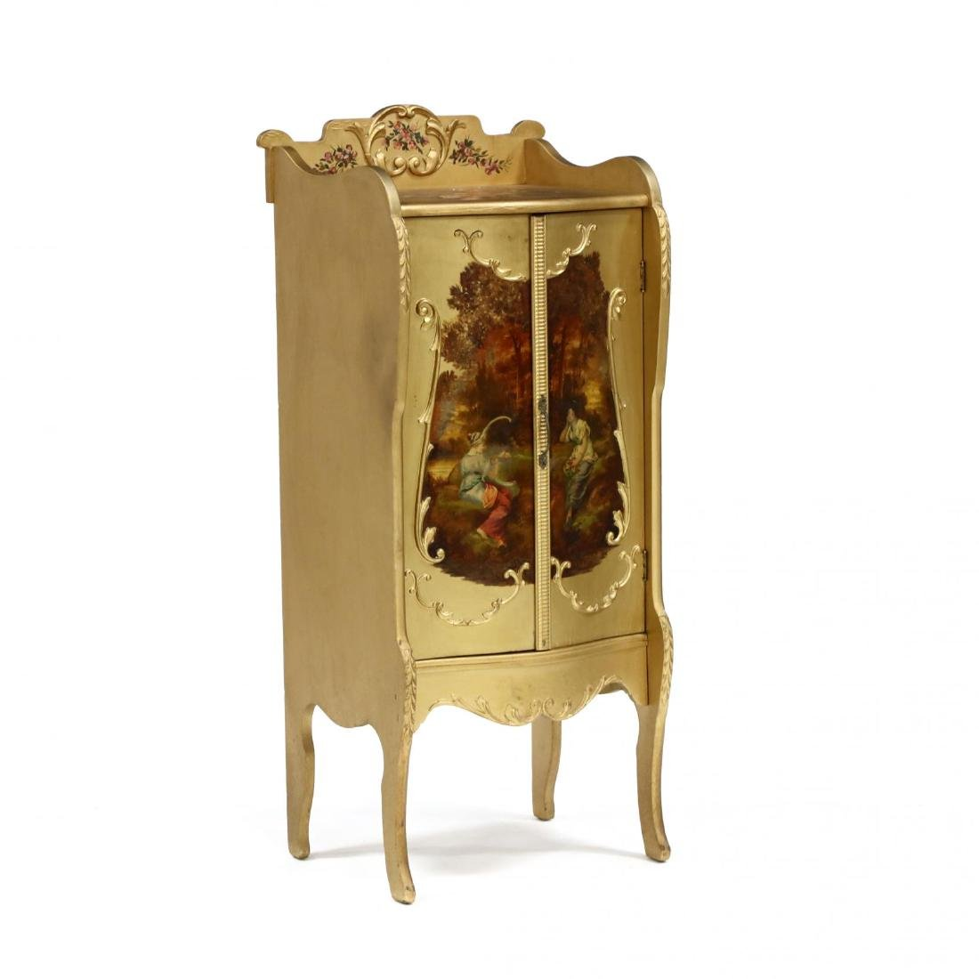 French Rococo Style Painted and Gilt Music Cabinet