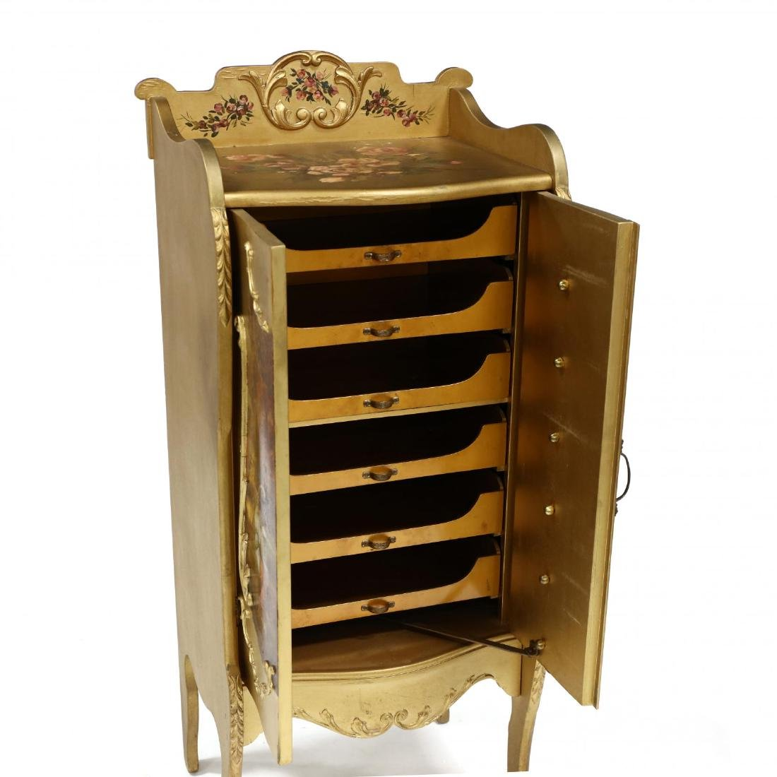 French Rococo Style Painted and Gilt Music Cabinet - 4