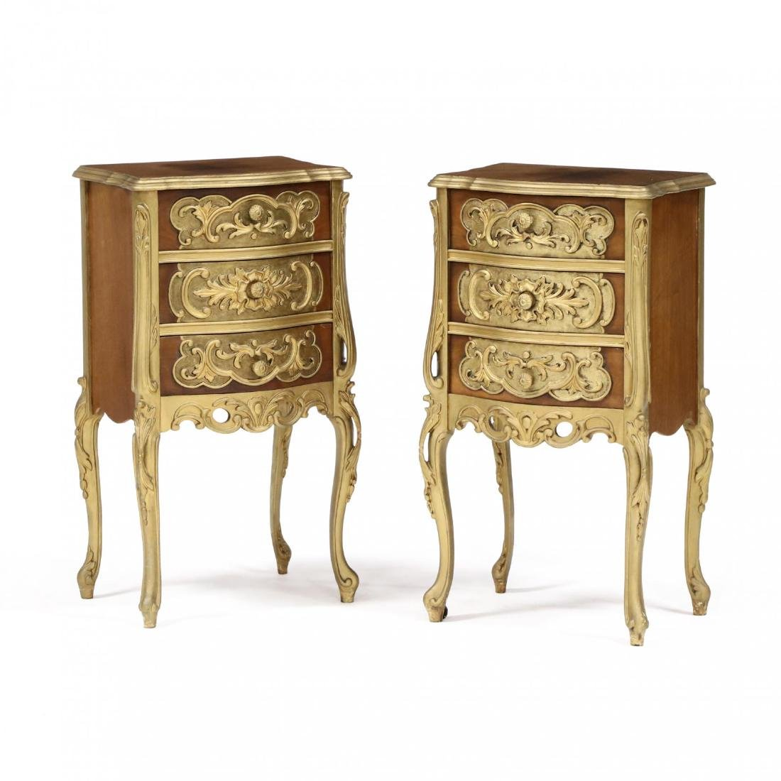 Pair of Italian Rococo Style Diminutive Chests