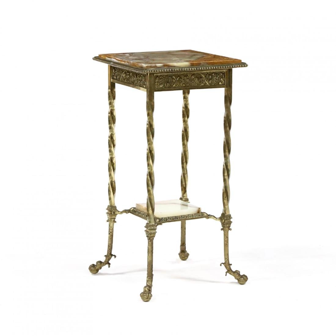 French Brass and Agate Table