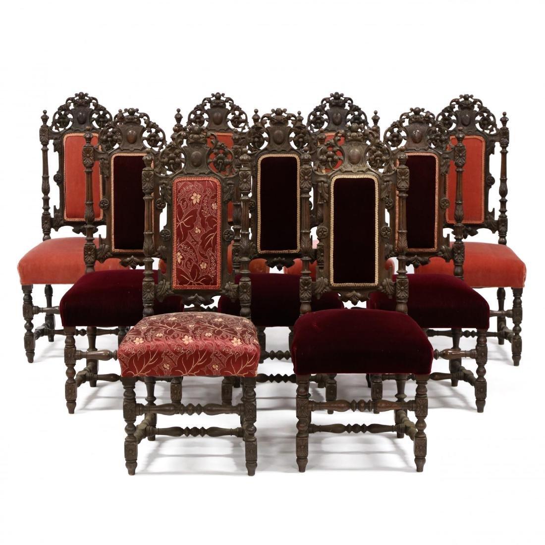 Set of Nine Late Renaissance Revival Carved Oak Dining
