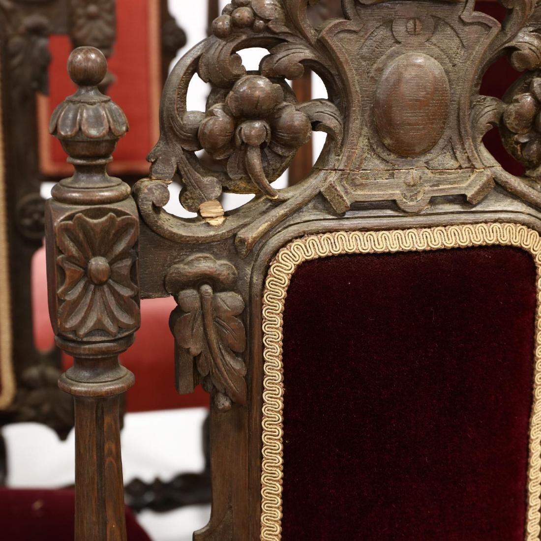 Set of Nine Late Renaissance Revival Carved Oak Dining - 2