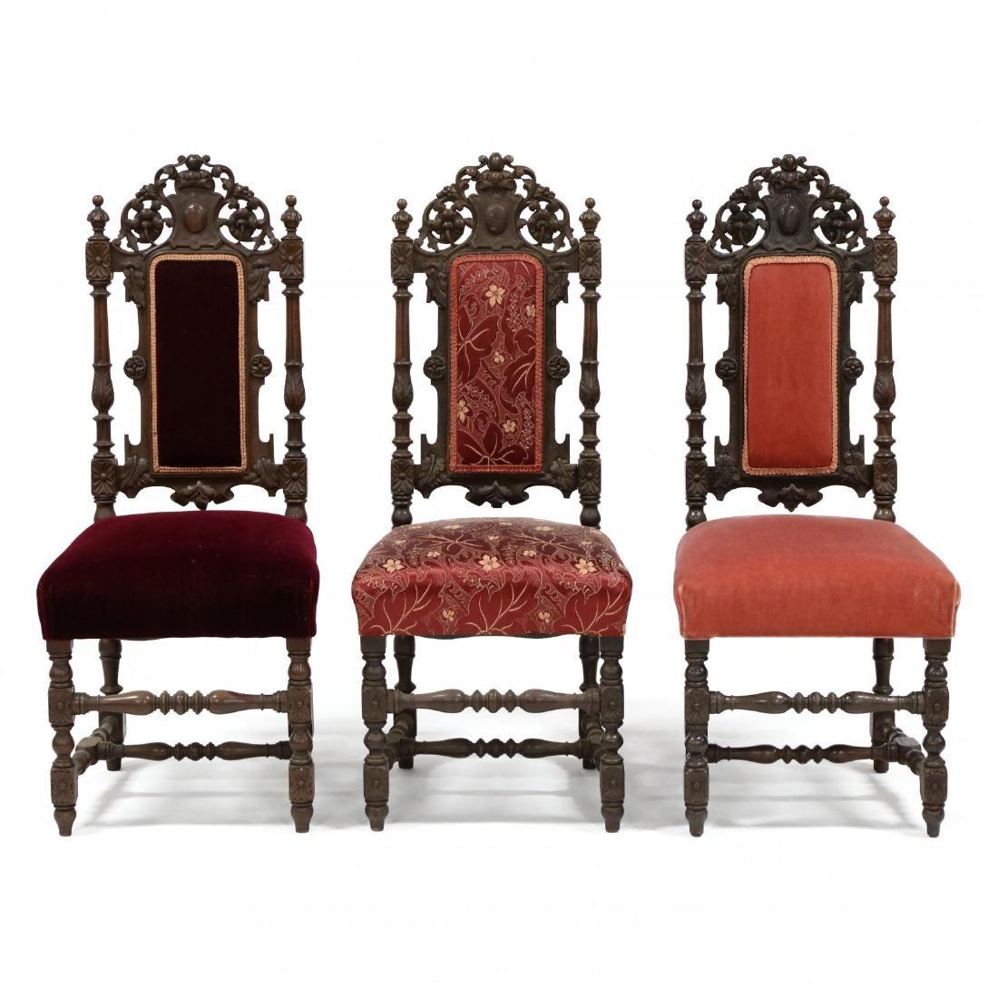 Set of Nine Late Renaissance Revival Carved Oak Dining - 3