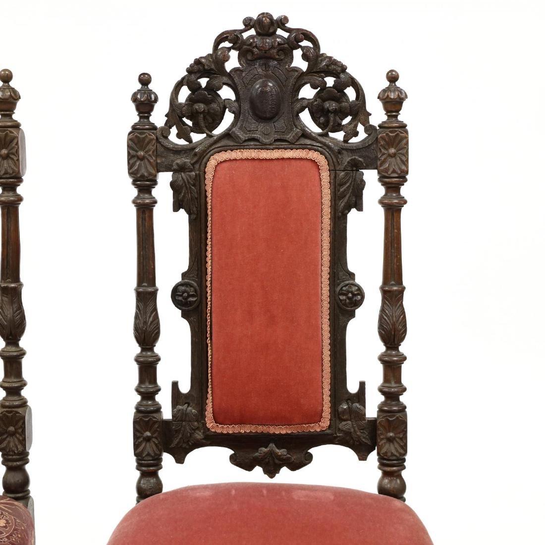 Set of Nine Late Renaissance Revival Carved Oak Dining - 4