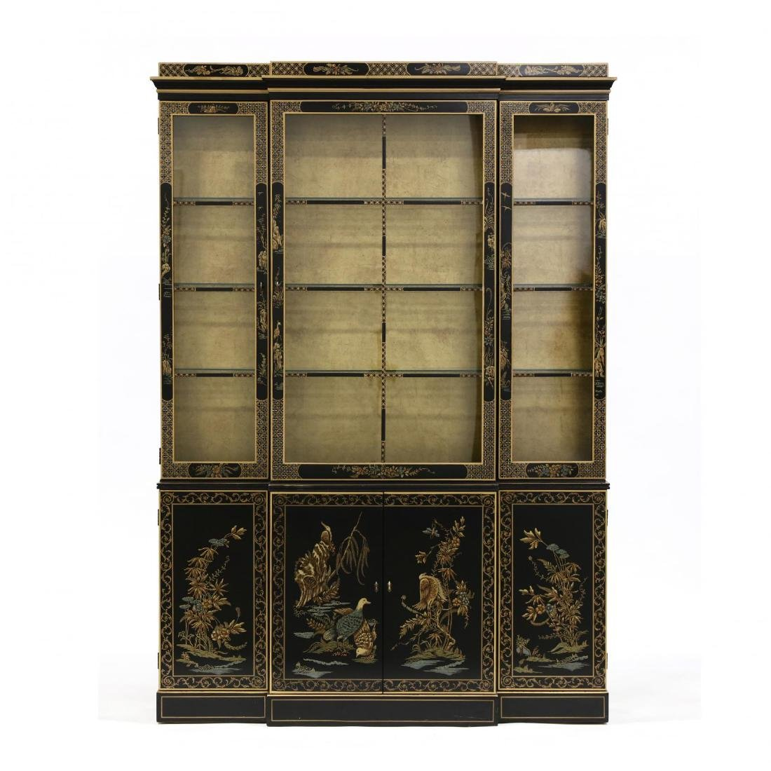 Drexel, Chinoiserie Decorated Lighted Breakfront