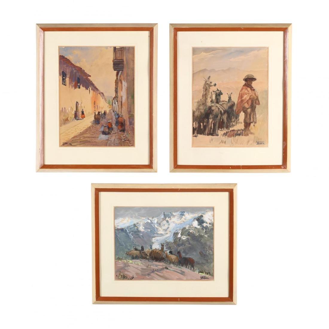 G. Vasquez (20th century), Three Watercolors