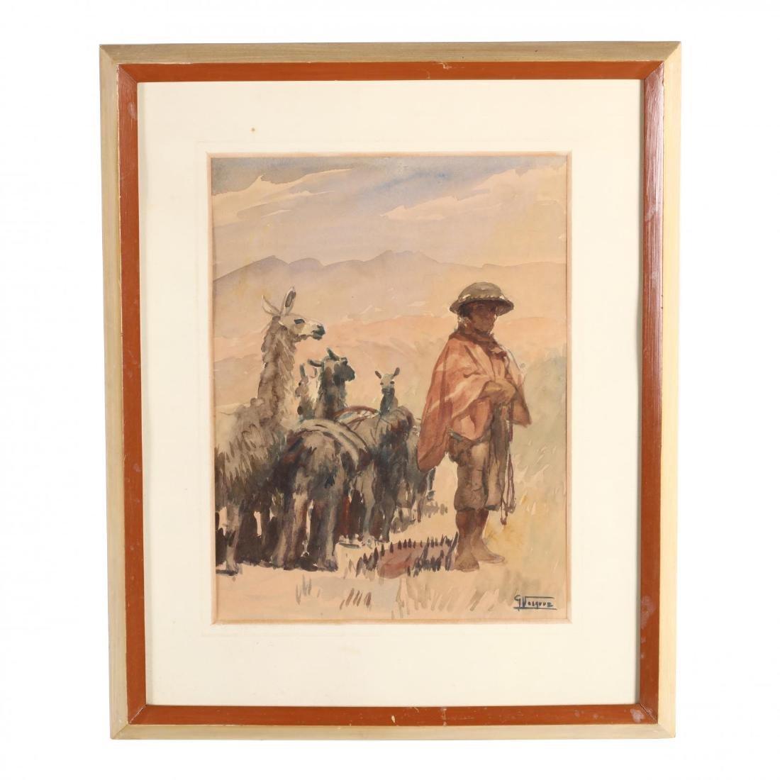 G. Vasquez (20th century), Three Watercolors - 4