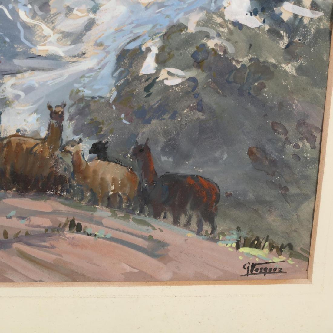 G. Vasquez (20th century), Three Watercolors - 7