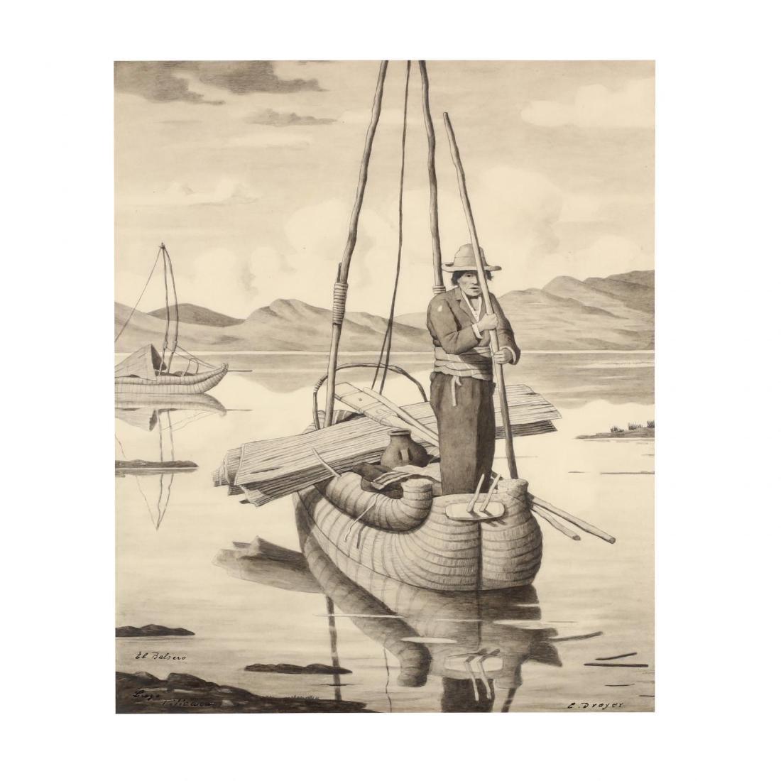 E. Dreyer (20th century),  El Balsero, Lago Ticicaca