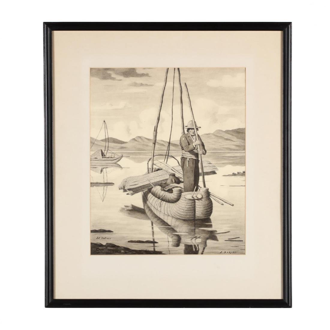 E. Dreyer (20th century),  El Balsero, Lago Ticicaca - 2