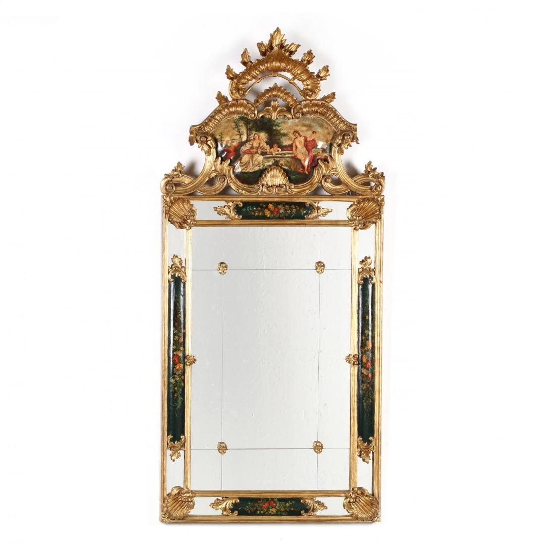 A Designer Baroque Style Scenic Painted Mirror