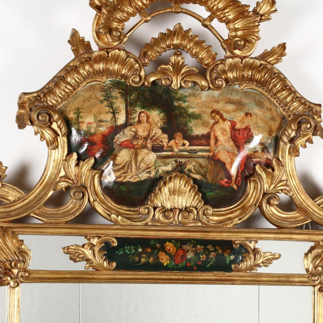 A Designer Baroque Style Scenic Painted Mirror - 2