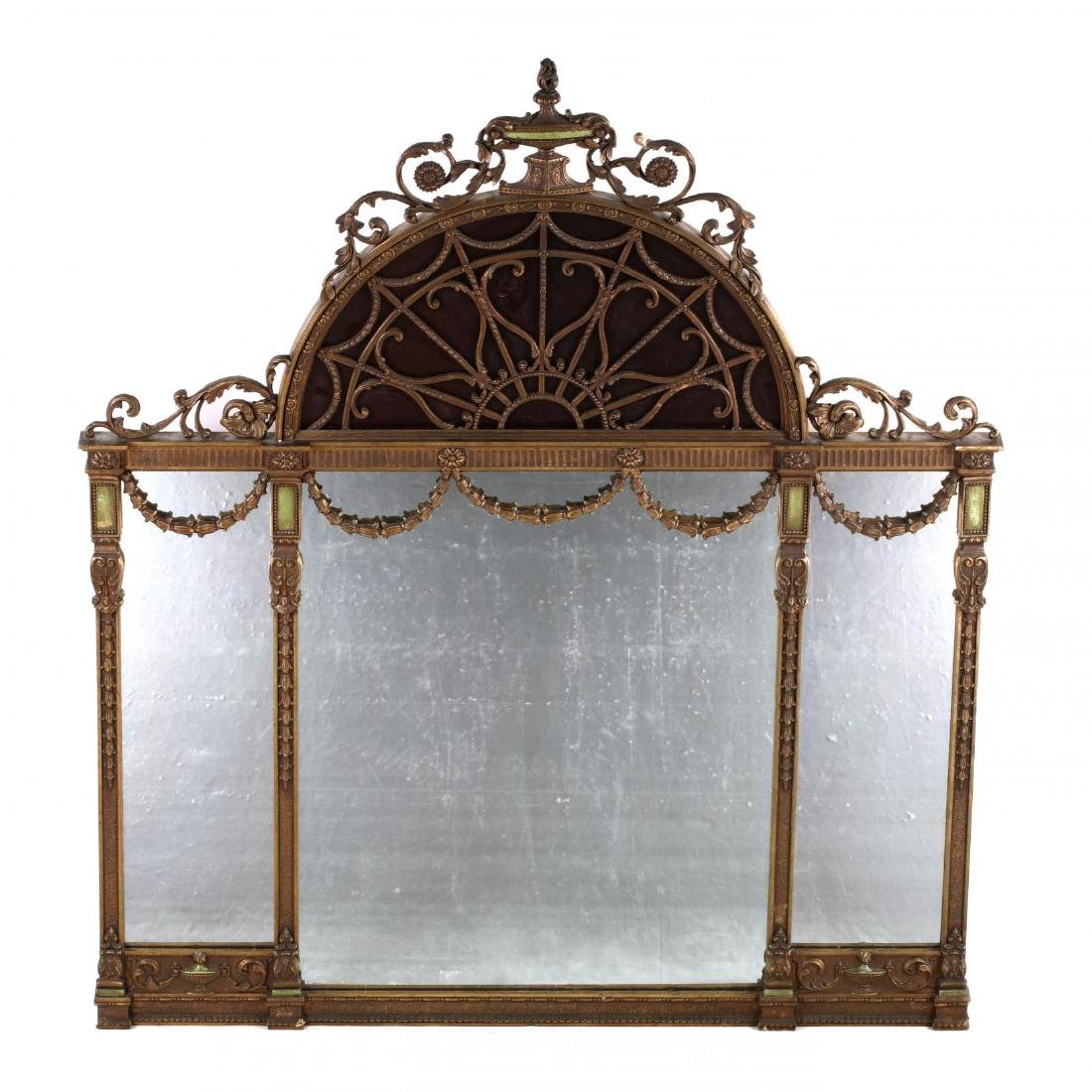 A Large Adam's Style Tri-Panel Over Mantle Mirror
