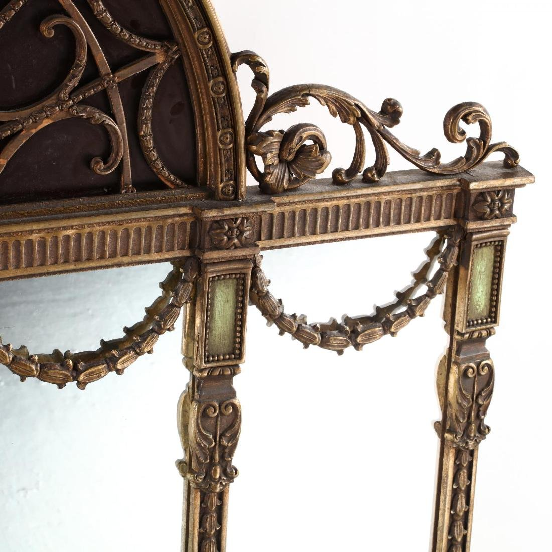 A Large Adam's Style Tri-Panel Over Mantle Mirror - 2