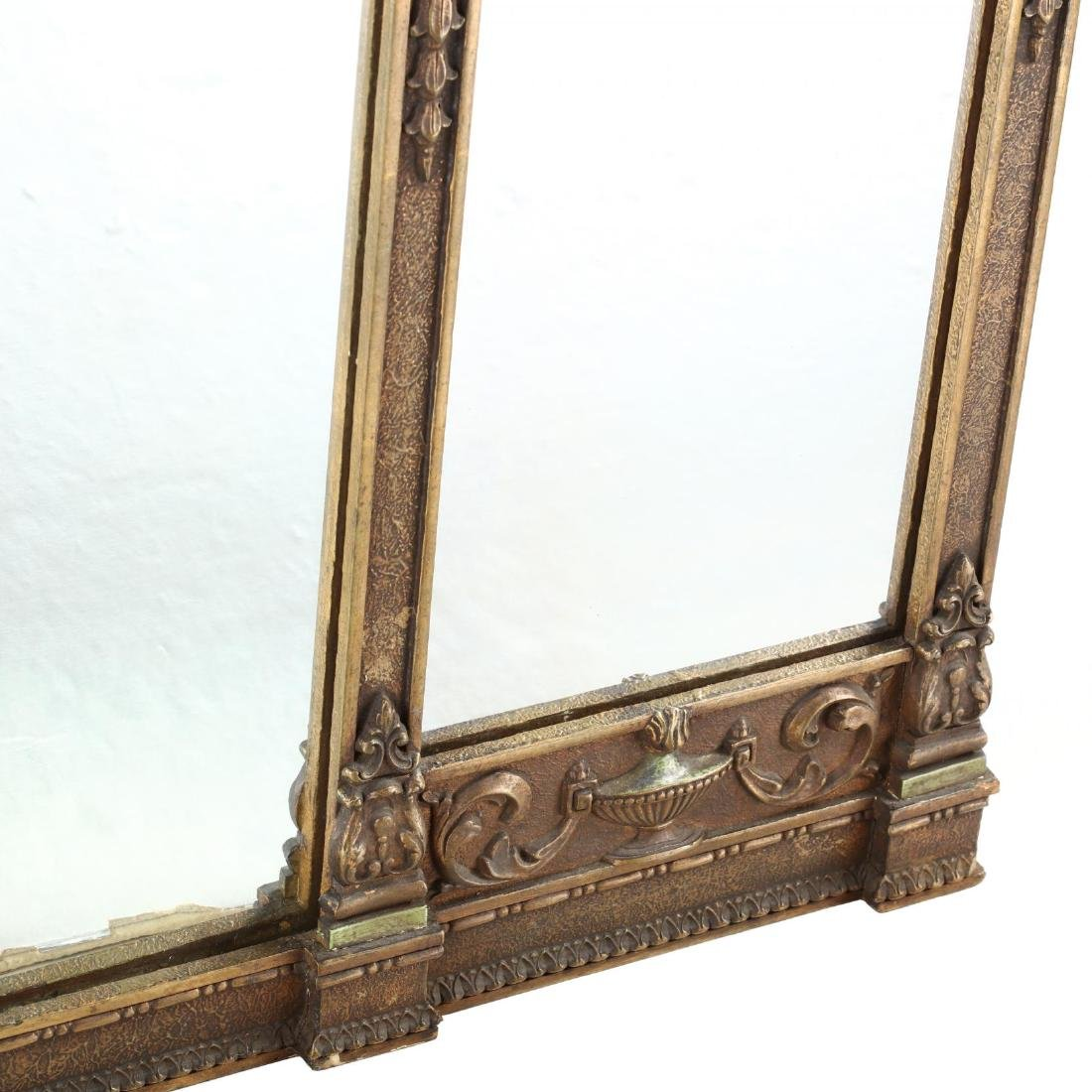 A Large Adam's Style Tri-Panel Over Mantle Mirror - 4