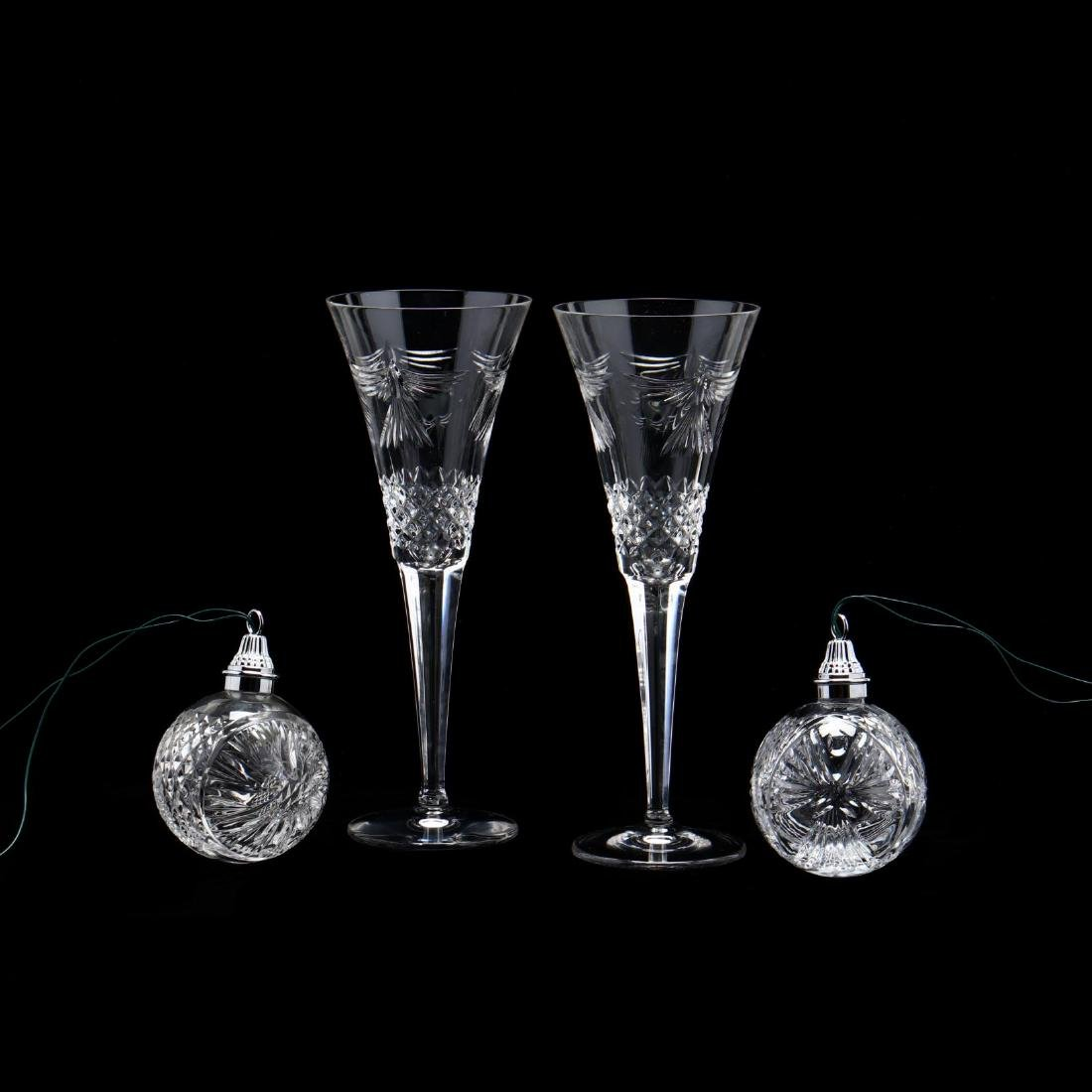 A Pair of Waterford Crystal Toasting Flutes and Two