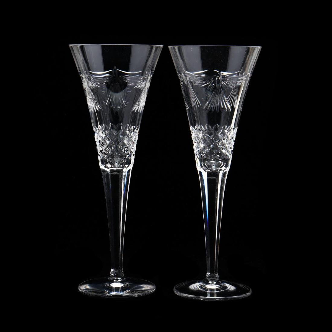 A Pair of Waterford Crystal Toasting Flutes and Two - 8