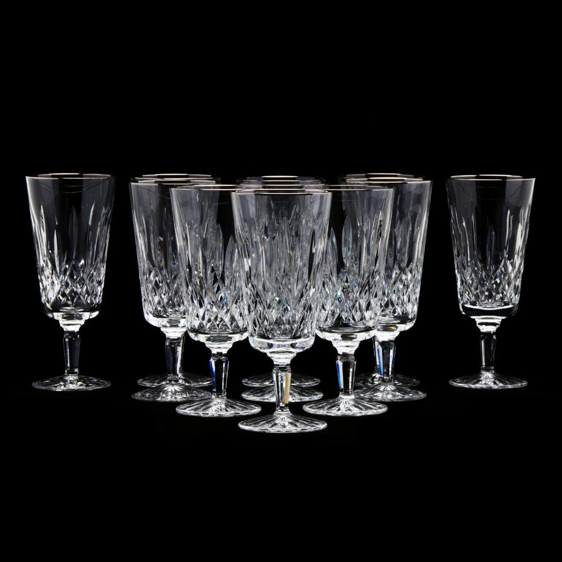 """A Set of (11) Waterford """"Platinum Lismore Tall"""" Iced"""