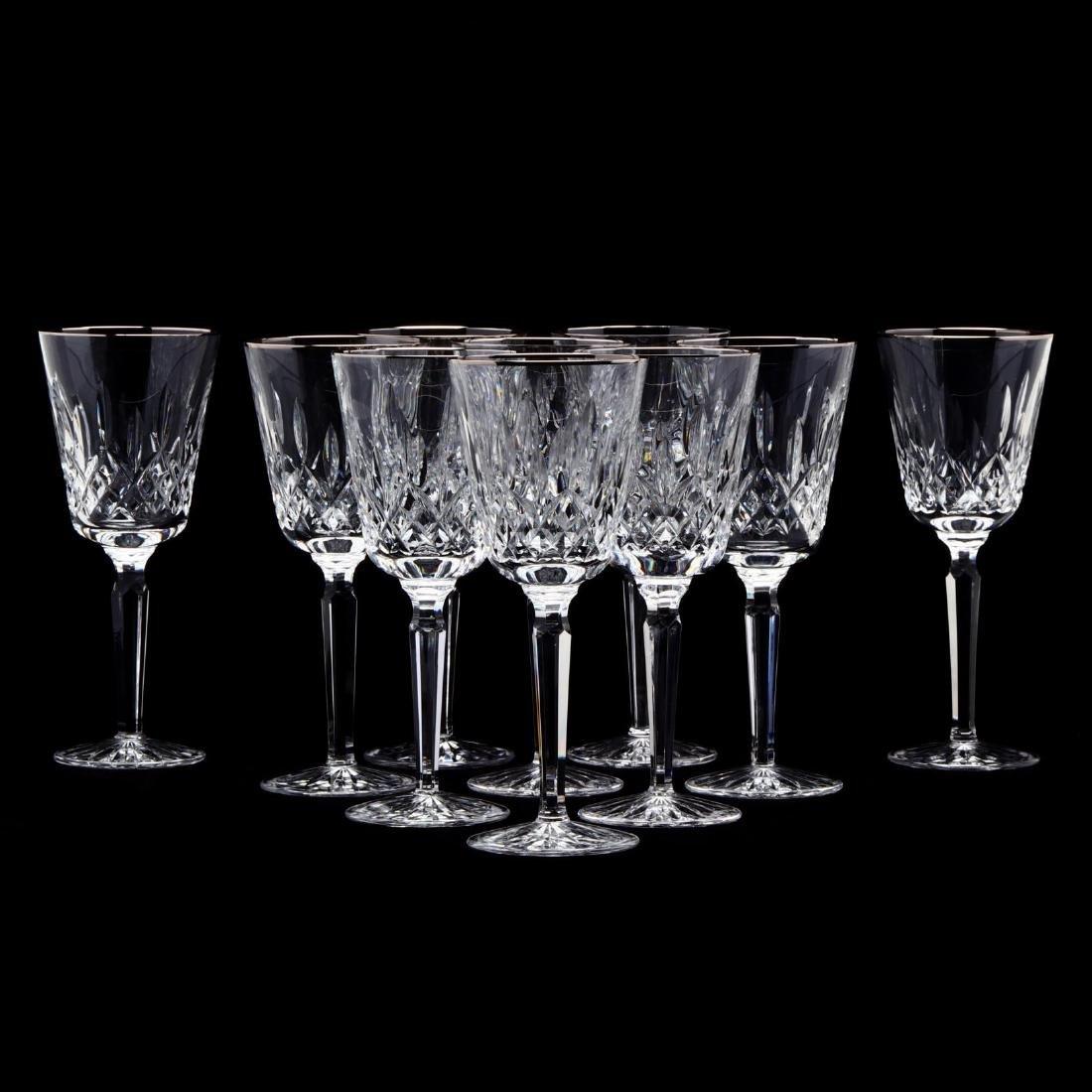 "A Set of Ten Waterford ""Platinum Lismore Tall"" Water"