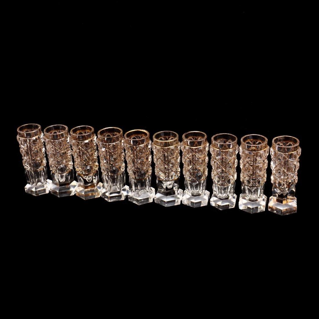 A Set of Ten Russian Gilt & Cut Crystal Vodka Glasses - 4