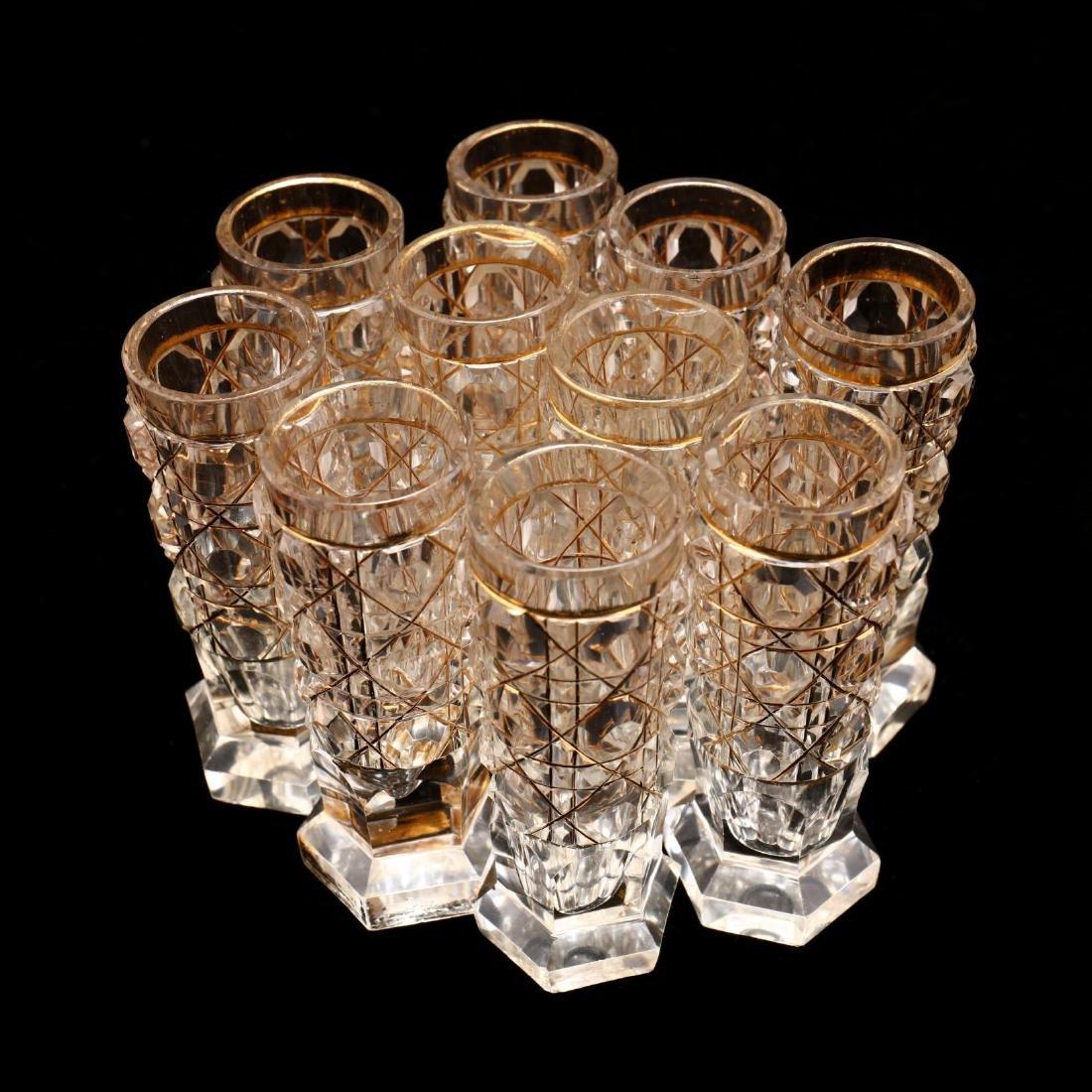 A Set of Ten Russian Gilt & Cut Crystal Vodka Glasses - 5
