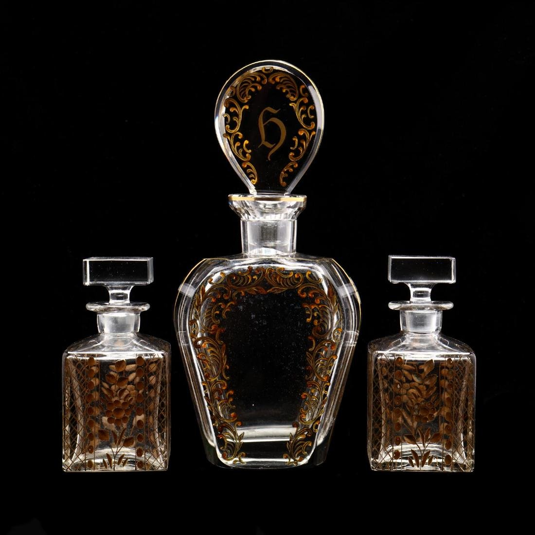 Three Large Antique Scent Bottles