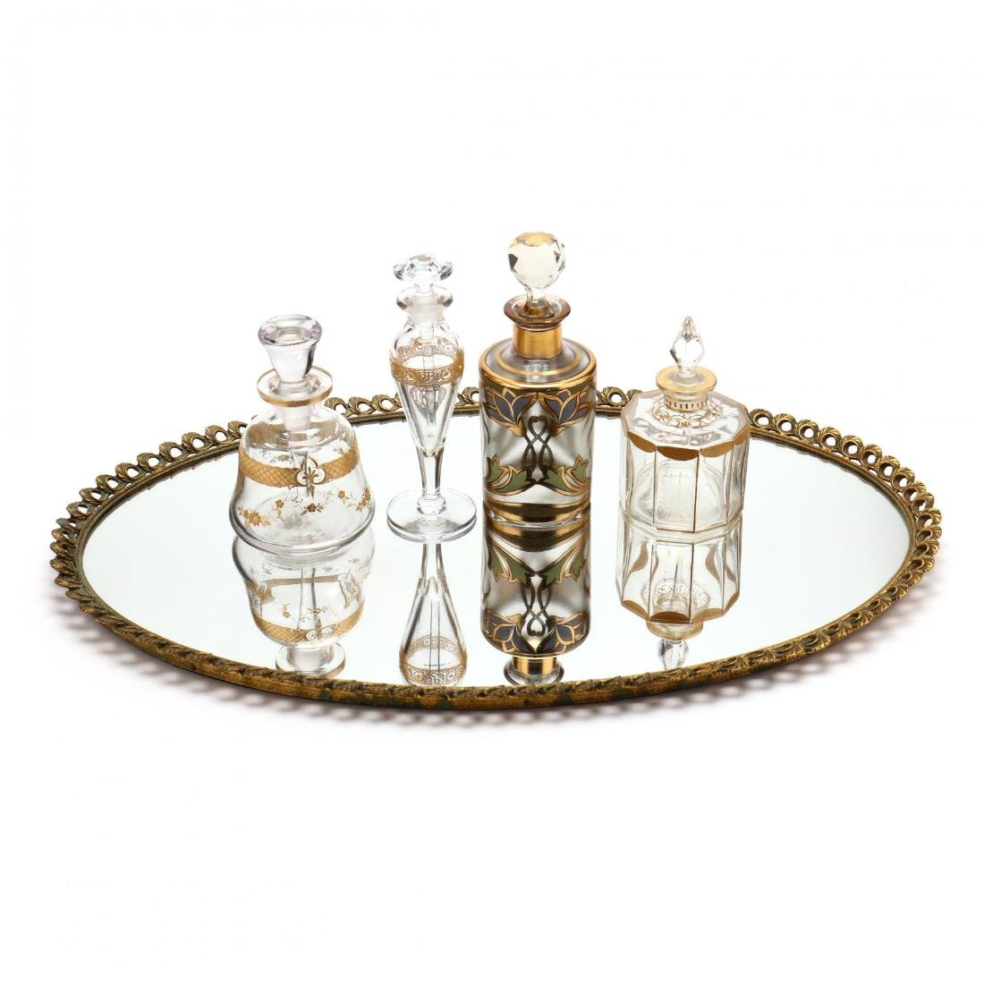A Vintage Vanity Tray and Four Antique Scent Bottles - 2