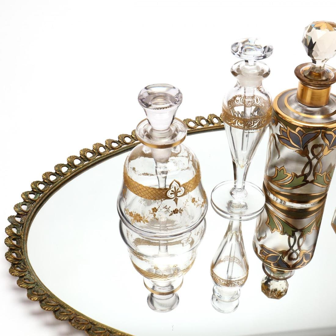 A Vintage Vanity Tray and Four Antique Scent Bottles - 3