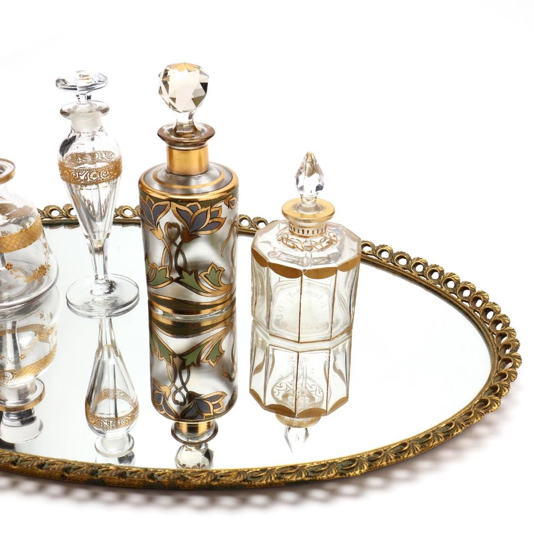 A Vintage Vanity Tray and Four Antique Scent Bottles - 4