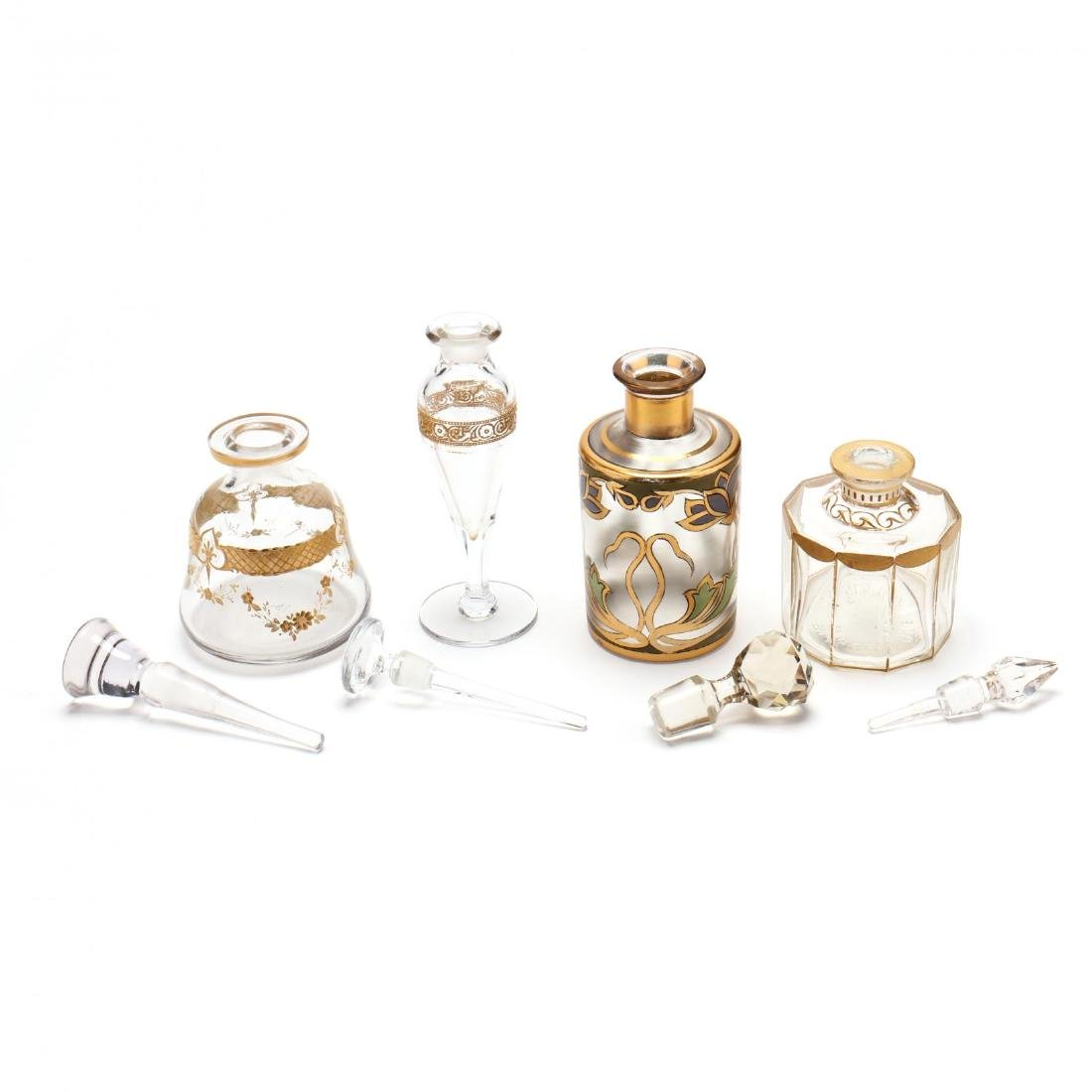 A Vintage Vanity Tray and Four Antique Scent Bottles - 5