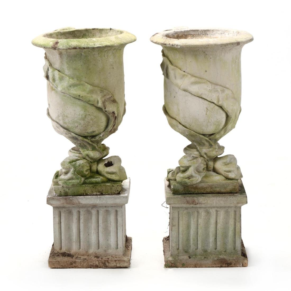 Pair of Cast Stone Classical Garden Urns on Stands