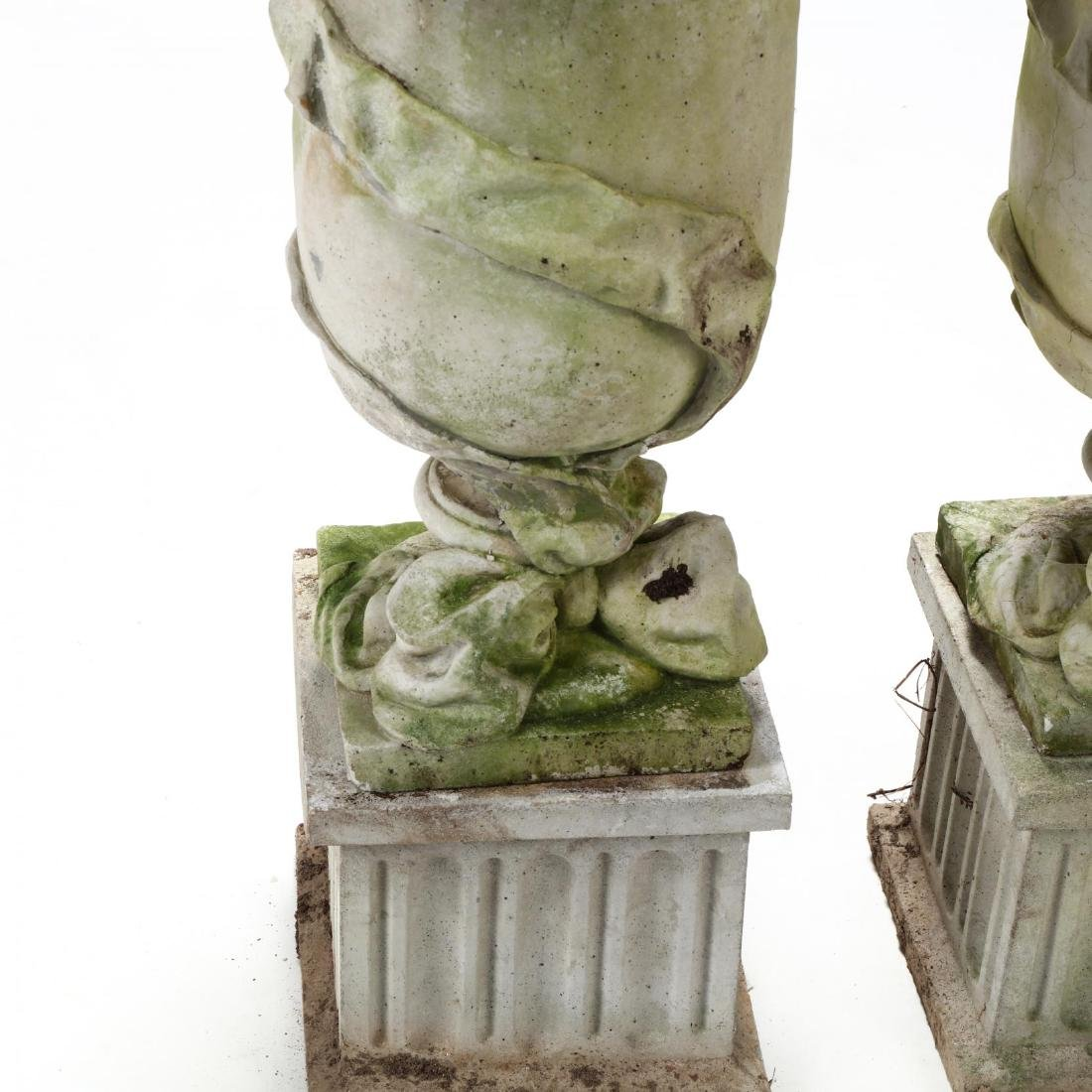 Pair of Cast Stone Classical Garden Urns on Stands - 2