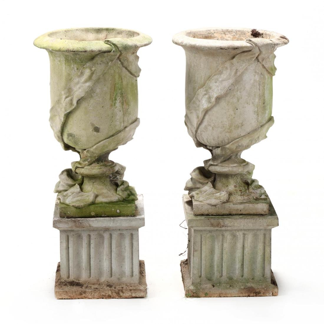 Pair of Cast Stone Classical Garden Urns on Stands - 4