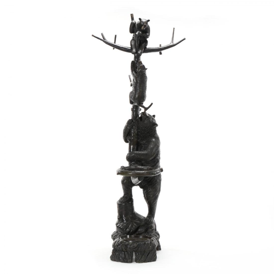 Black Forest Style Bronze Bear Form Hall Tree