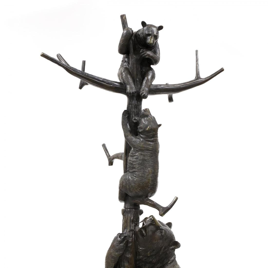 Black Forest Style Bronze Bear Form Hall Tree - 3
