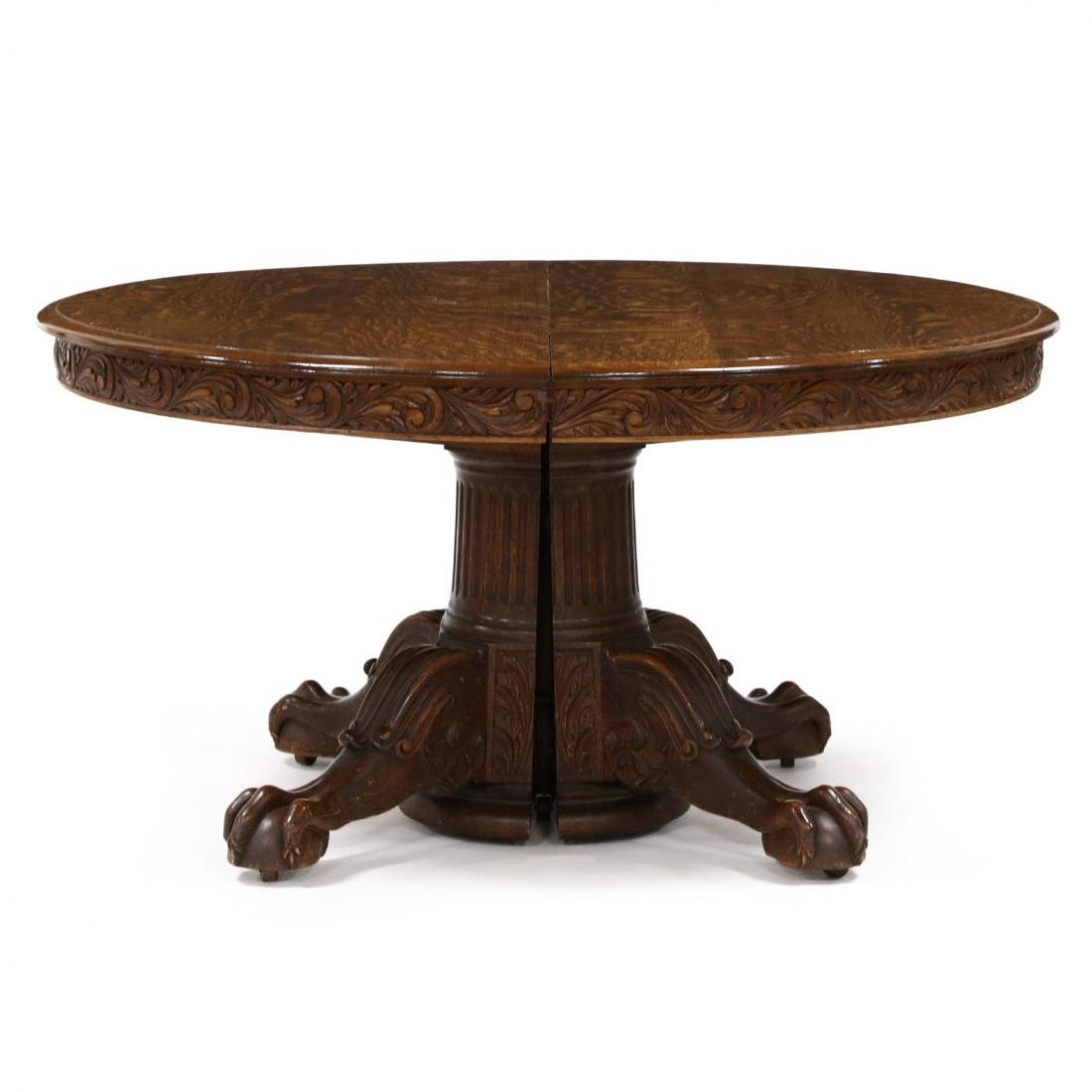 Edwardian Carved Oak Expansion Dining Table