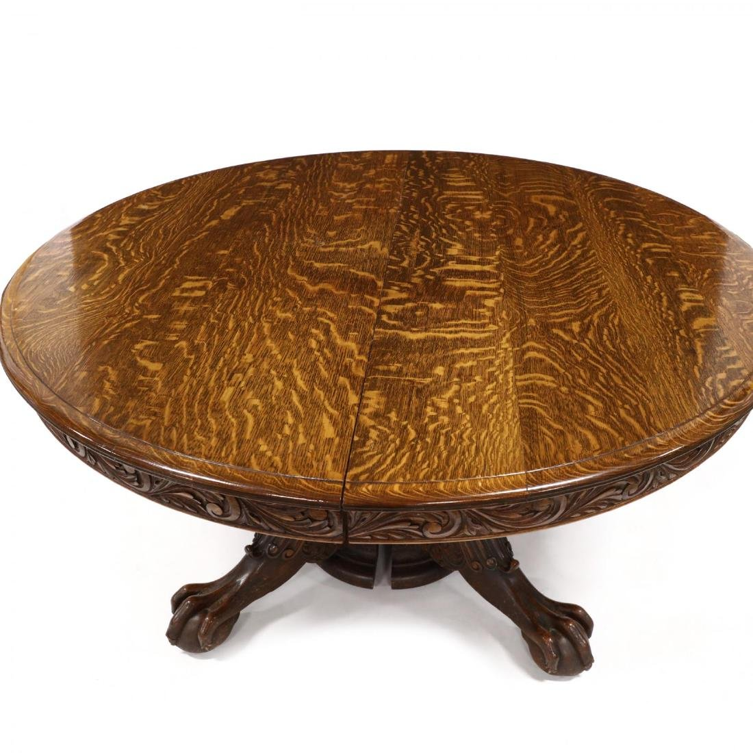 Edwardian Carved Oak Expansion Dining Table - 2
