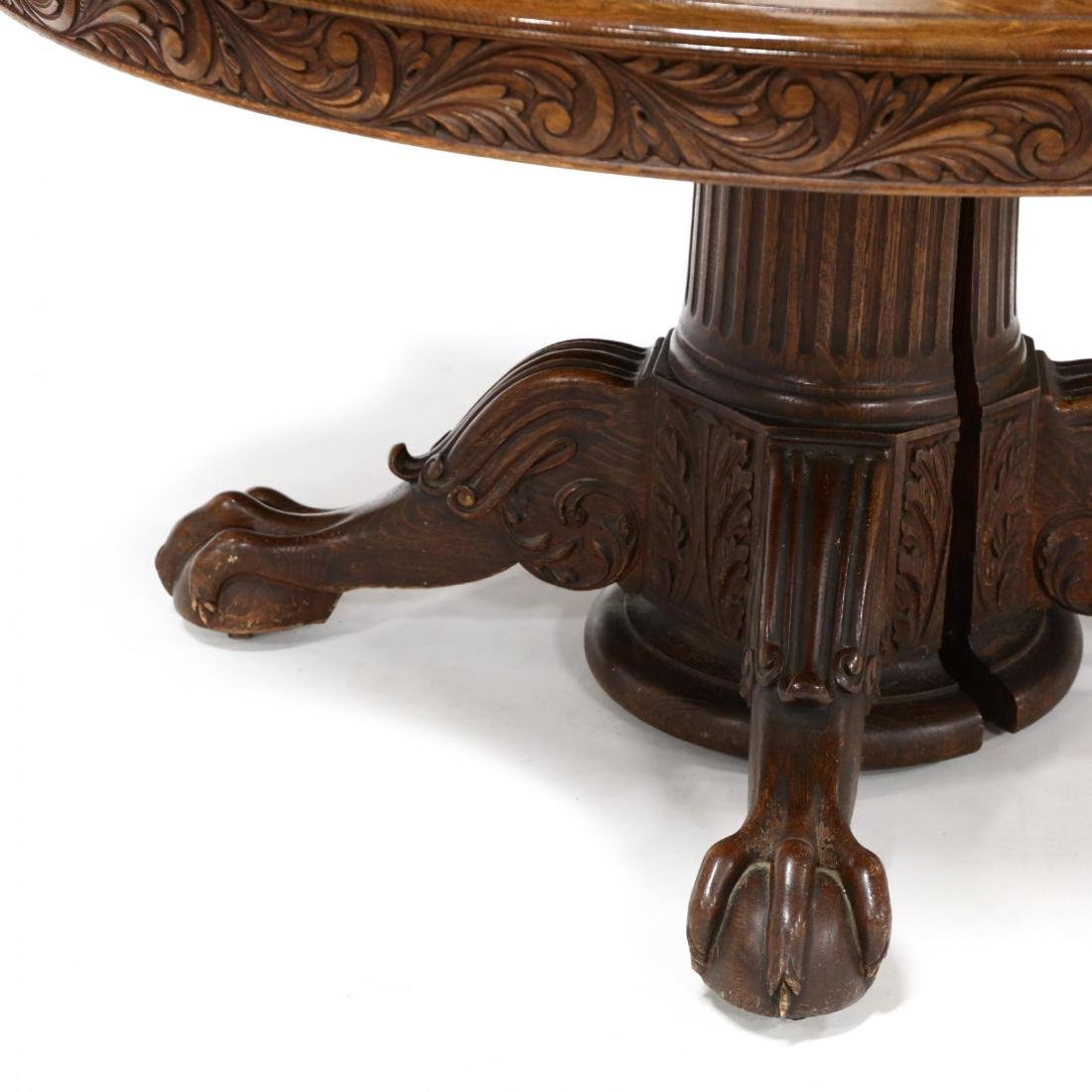Edwardian Carved Oak Expansion Dining Table - 3