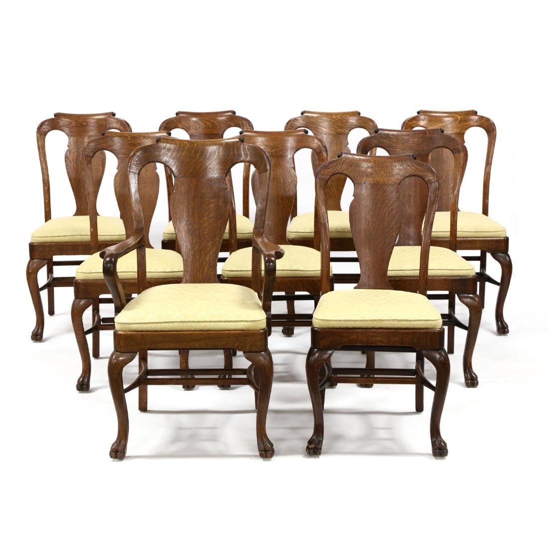 Set of Nine Edwardian Oak Dining Chairs