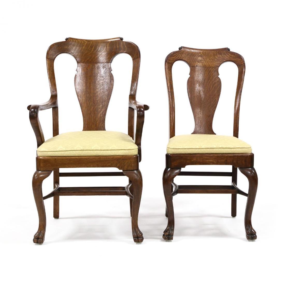 Set of Nine Edwardian Oak Dining Chairs - 2