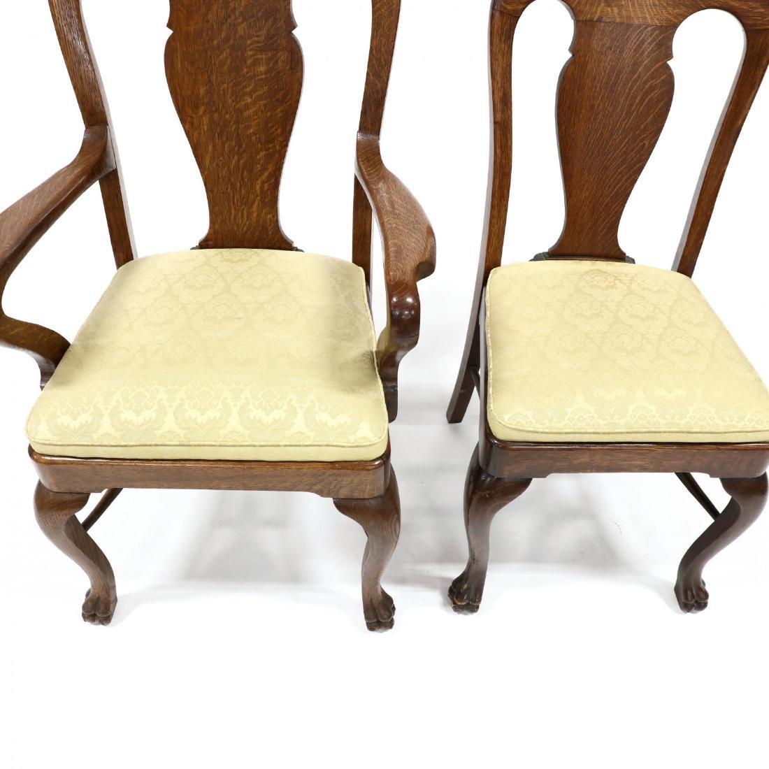 Set of Nine Edwardian Oak Dining Chairs - 3