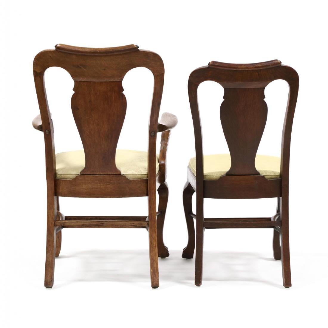 Set of Nine Edwardian Oak Dining Chairs - 4