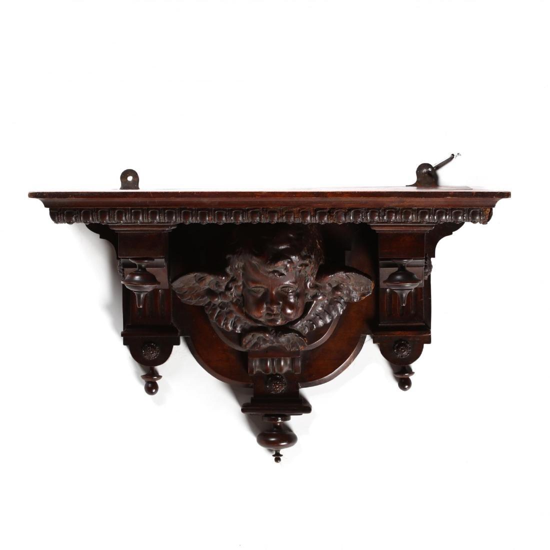 Renaissance Revival Carved Walnut Bracket Shelf